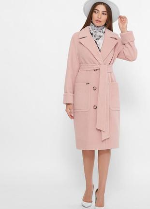 Шерстяное пальто пудра