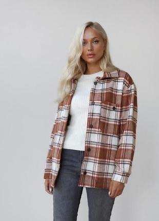 Новая рубашка турция дилвин коричневая клетка куртка рубашка
