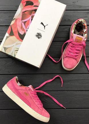 Женские кроссовки puma basket замшевые розовые