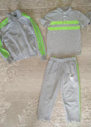 Летний тонкий спортивный костюм футболка поло хлопок комплект кофта штаны тройка