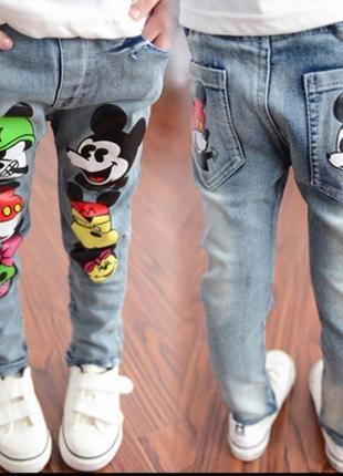 Джинсовые штаны детские микки маус