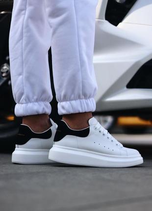 Alexander mcqueen white black женские кожаные кроссовки белого цвета 😍