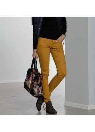Хлопковые джегинсы на резинке джинсы брюки горчичный цвет, стиль кэжуал.