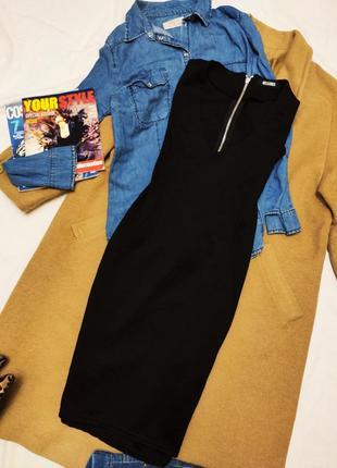 Платье чёрное короткое резинка по фигуре missguided