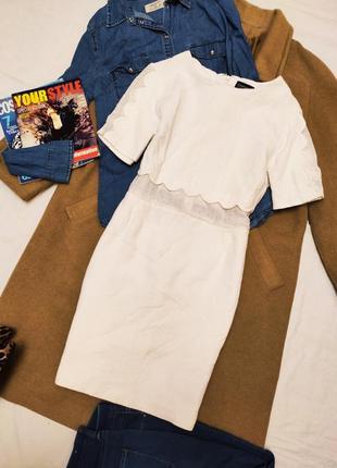 Платье белое topshop с вставками на рукавах и талии