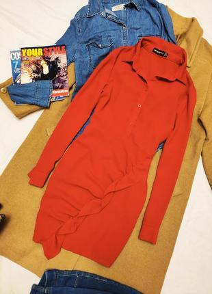 Платье рубашка блуза с воланом красное алое pretty little things