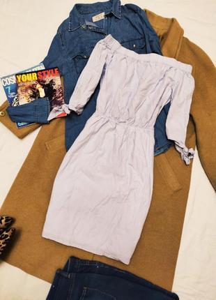 Платье рубашка голубое с открытыми плечами h&m
