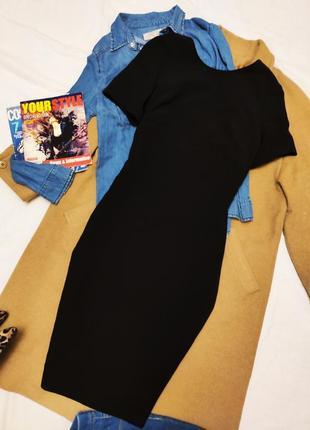 Платье чёрное миди с открытой спиной зара zara классическое
