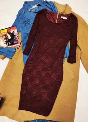 Платье бордо марсала бургунди гипюровое glamorous