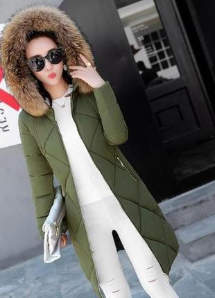 Распродажа удлиненная куртка прямого кроя с мехом на капюшоне оливково-зеленая мl