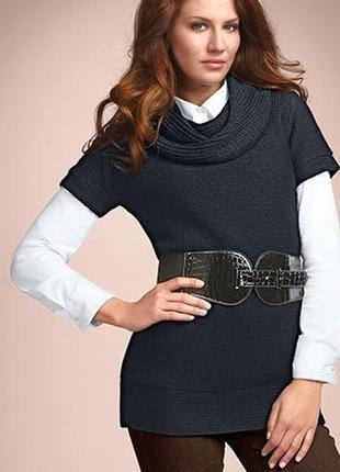 Вязаное платье-туника с поясом