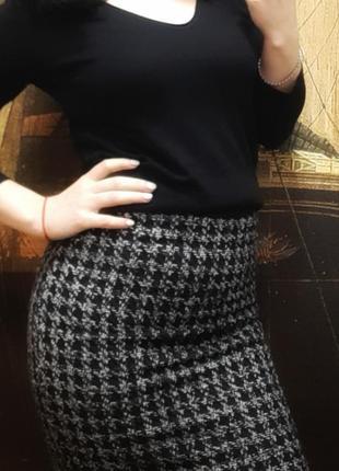 Теплая юбка карандаш