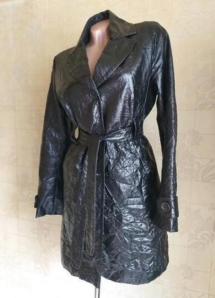 Лаковый плащ, френч, тренч, пальто. черный. personal affairs.