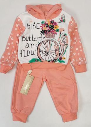 Детский теплый костюм для девочки 1-2 года персиковый велосипед