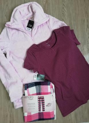 Пижама тройка плюшевая кофта футболка фланелевые штаны esmara
