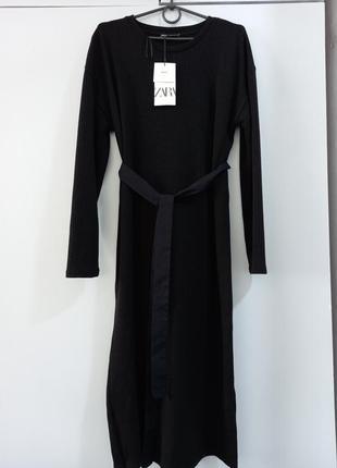 Zara тёплое платье с поясом р.s
