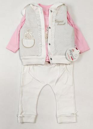 Детский костюм тройка для девочки 6-12 месяцев зайка бело-розовый