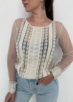 Блуза с кружевом la redoute