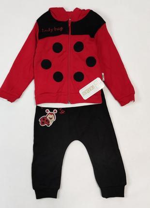 Детский костюм тройка для девочки 9-18 месяцев божья коровка