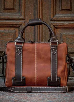 Коричневая кожаная сумка для документов и ноутбука . мужская сумка
