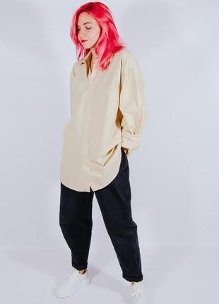 Женская бежевая рубашка с длинными рукавами, жіноча бежева сорочка