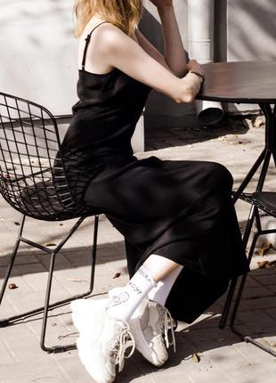 Черное платье-комбинация, платье в пол, платье с тонкими бретельками, сукня, плаття