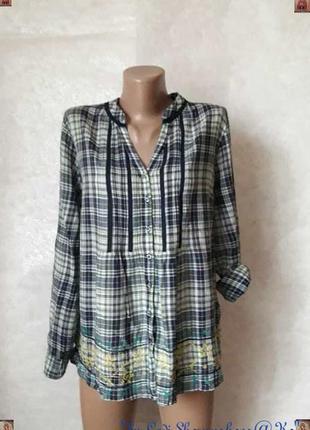 Фирменная per una блуза/рубашка со 100% хлопка в клетку и вышивкой, размер 2хл