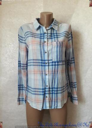 Фирменная h&m хлопковая (100 %) рубашка в клетку с удлинённой спинкой, размер с-м
