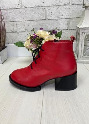 Женские туфли красные на устойчивом каблуке на шнурках  натуральная кожа rero 1-1