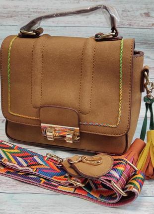 Женская модная стильная сумка клатч коричневая