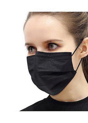 Медицинская черная трехслойная фабричная маска 30 шт