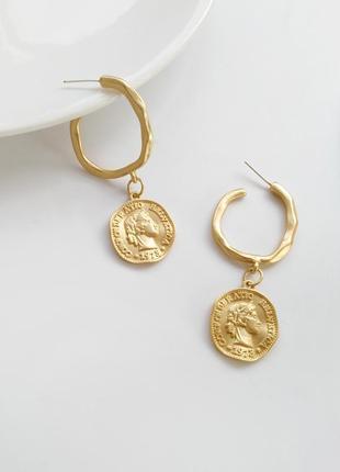 Модные серьги монетки круглые матовое золото