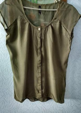 Легкая блуза ярко- оливкового цвета chicoree