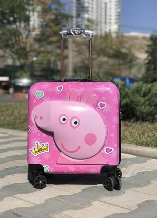 Чемодан для девочки на колесиках  розовый свинка пеппа