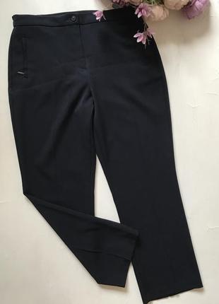 Укороченые брюки с карманами зауженные темно-синие размер л