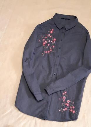 Новая синяя рубашка хлопок с вышивкой длинный рукав размер 18 bonmarche