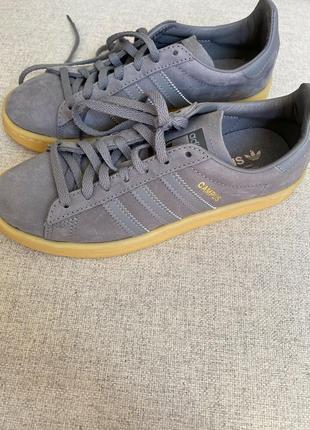 Сірі шкіряні кросівки adidas campus оригінал