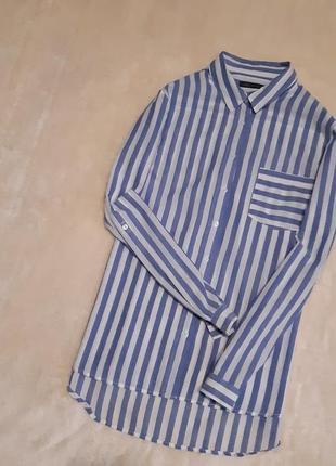 Рубашка свободная белая в синею полоску длинный рукав хлопок размер 14-16 marks & spencer