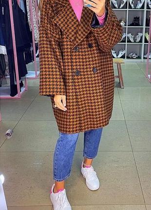 Кашемировое пальто оверсайз гусиная лапка. пальто осень-весна. хс-м
