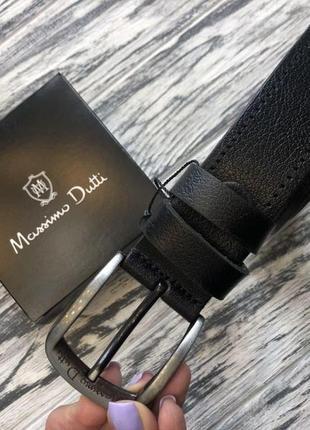 Ремень кожаный брендовый черный