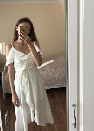 Белое платье белое платье с воланами платье миди платье на запах нарядное платье из хлопка
