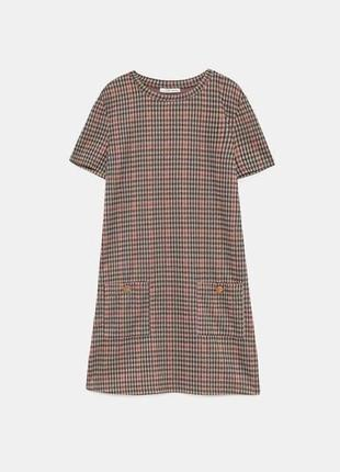 Крутое платье в клеточку zara платье футляр с карманами сукня