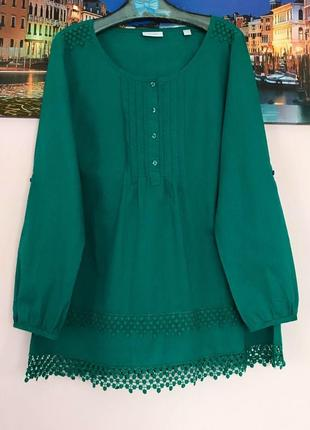 Натуральная блуза шикарного цвета с кружевом