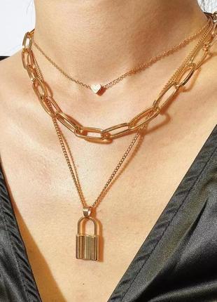 Массивное ожерелье колье чокер многослойная цепочка 3 золотистая с подвеской сердце замок