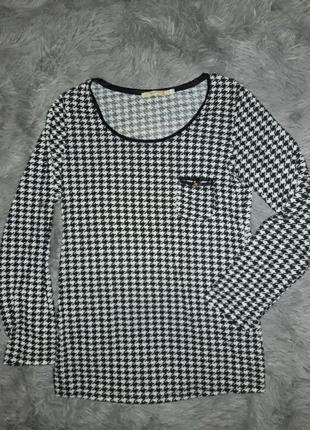 Блуза прямая туника кофточка гусиные лапки