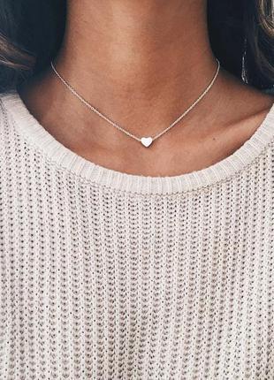 Чокер цепочка серебристая с подвеской сердце ланцюжок