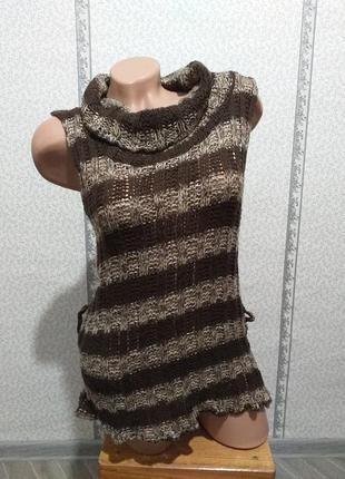 Свитер редкого плетения, без рукавов. (3165)