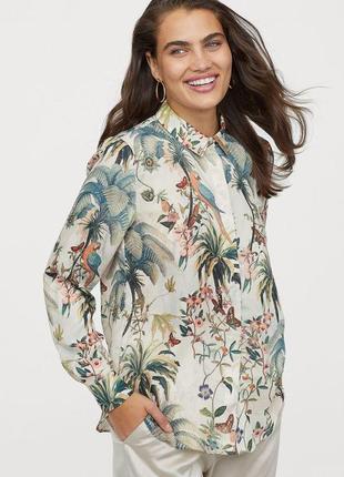 Блуза рубашка нарядная деловая в тропический принт h&m  р.52-54-56 укр.