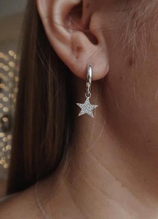 Серьги серебро 925 сережки звезды ак82342