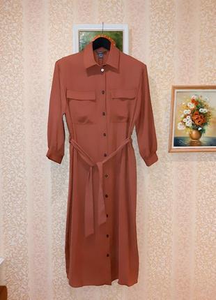 Терракотовое миди платье на пуговицах